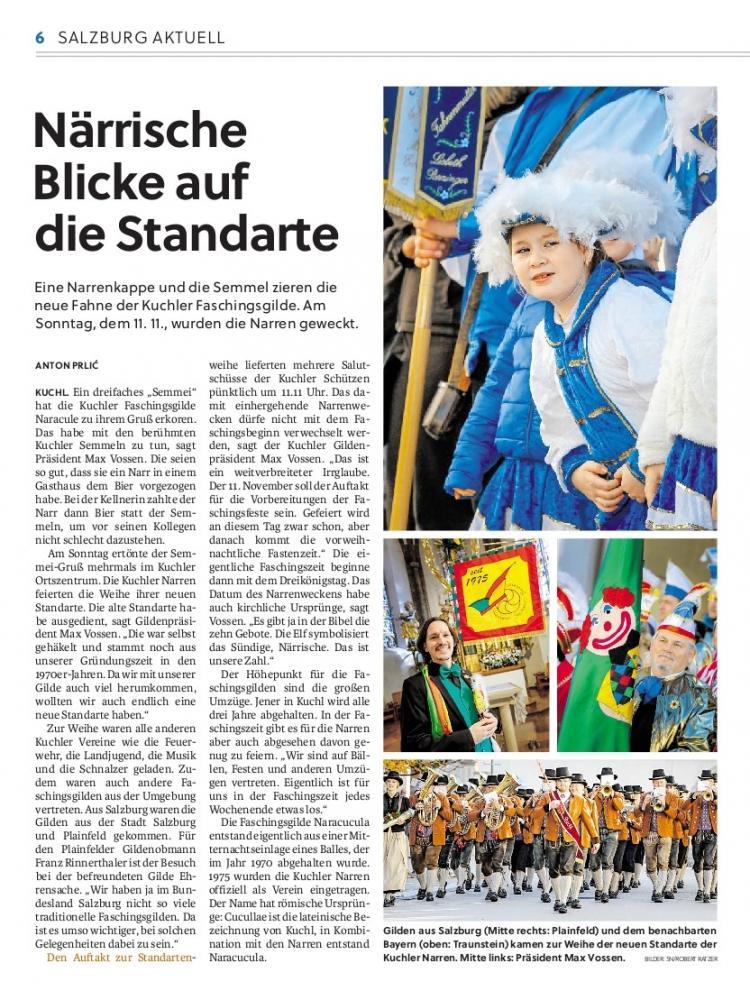 Salzburger Nachrichten Fahnenweihe Kuchl 12.11.18